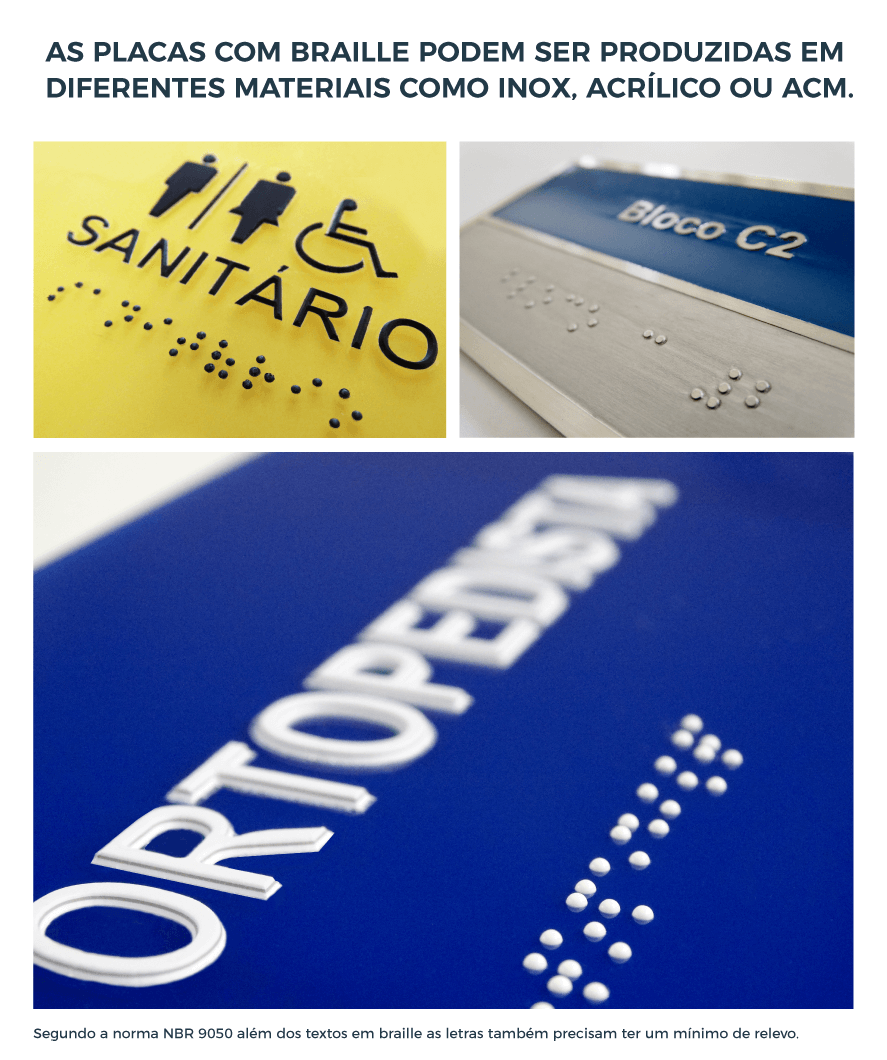 projetos de sinalização acessível placas de sinalização com braille